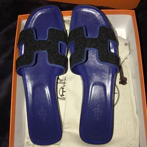 New Authentic Hermes Oran Sandals with Crystals
